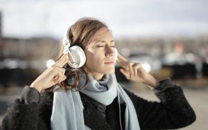 woman listening to theraputic music